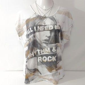 Rock & Republic White w/ Gold Sparkle Tunic Top